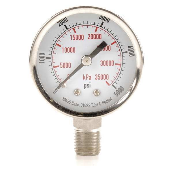 Zoro Select Pressure Gauge, Test, 2 In 4FML7