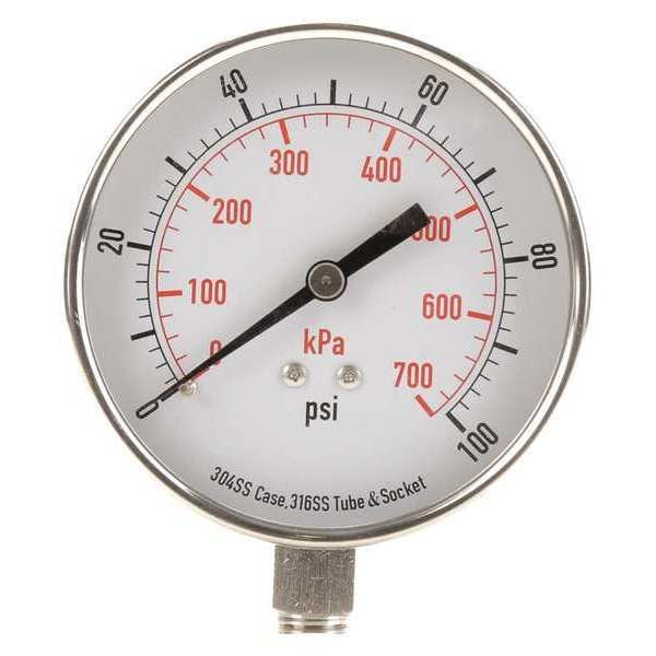Zoro Select Pressure Gauge, Test, 3-1/2 In 4FMP8