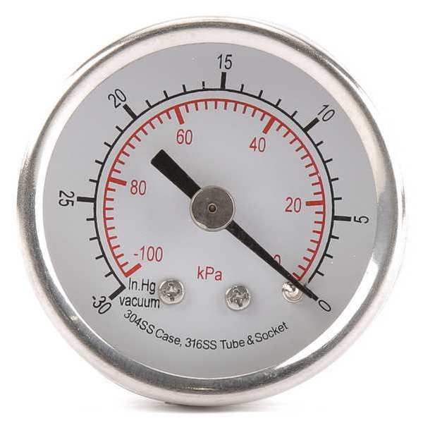 Zoro Select Pressure Gauge, Test, 1-1/2 In 4FMT6