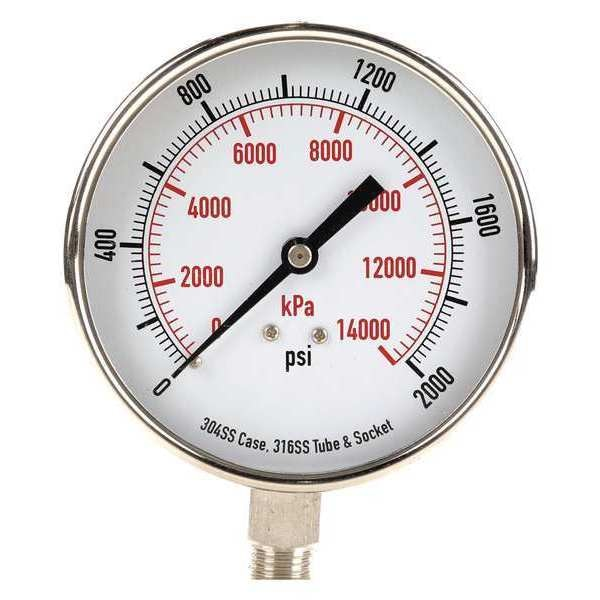 Zoro Select Pressure Gauge, Test, 3-1/2 In 4FMR6