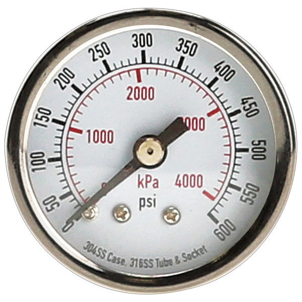 Zoro Select Pressure Gauge, Test, 1-1/2 In 4FMT9