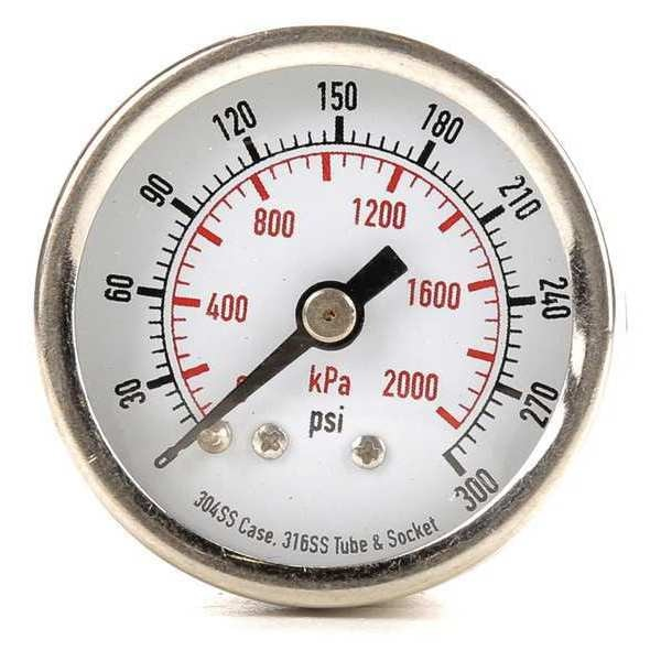 Zoro Select Pressure Gauge, Test, 1-1/2 In 4FMT7