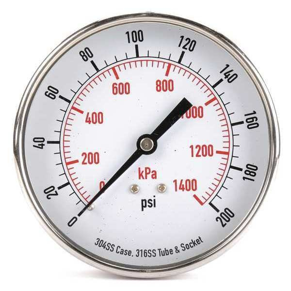 Zoro Select Pressure Gauge, Test, 3-1/2 In 4FMY3