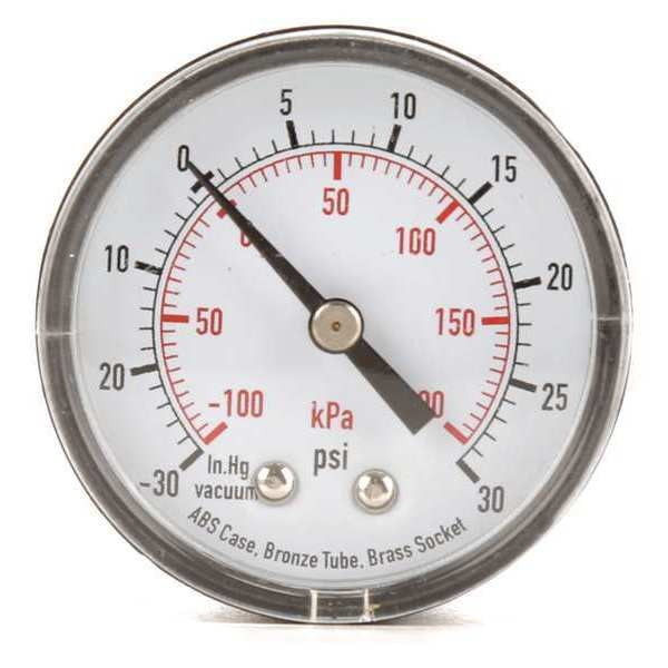 Zoro Select Compound Gauge, Test, 2 In 4FMC2