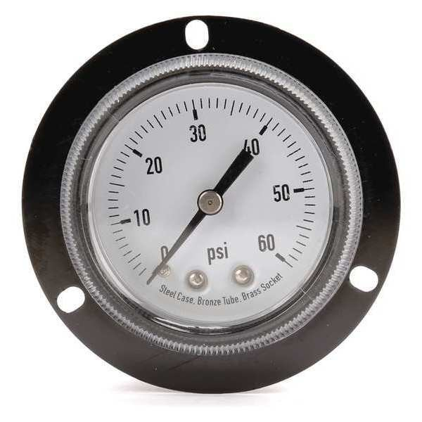 Zoro Select Panel Gauge,  Front Flange, 2 In, 60 psi 4FNA3