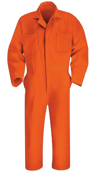 Red Kap Coverall, Chest 44In., Orange CT10OR RG 44