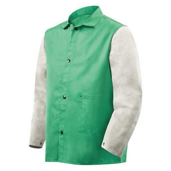 Steiner Flame Resistant Jacket w/Leather Sleeves,  Green/Gray,  2XL 1230-2X