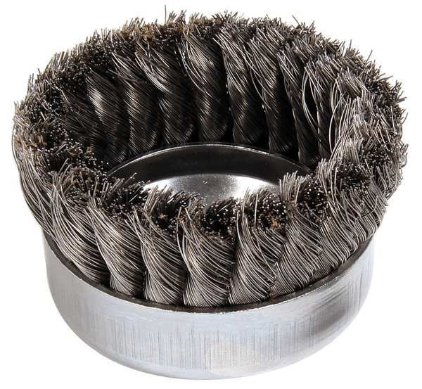 """Weiler Knot Wire Cup Wire Brush,  Threaded Arbor,  4"""" 93397"""