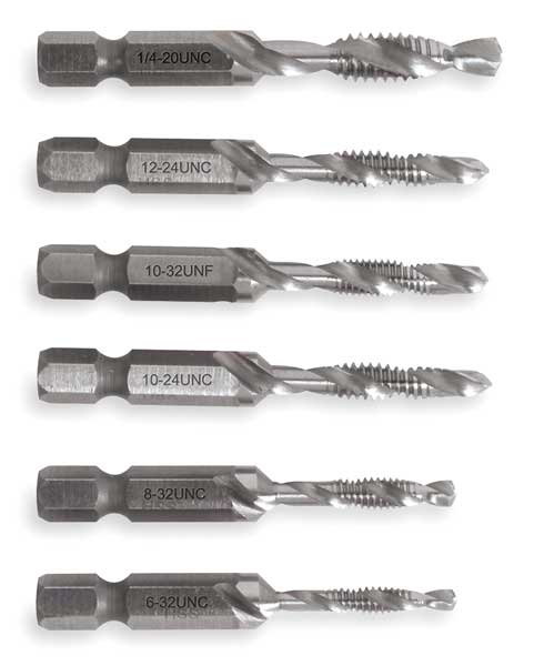 Greenlee Drill/Tap/Countersink Set, SAE, 6 Pc DTAPKIT