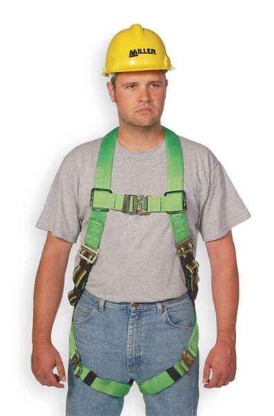 Honeywell Miller Full Body Harness,  Vest Style,  L/XL,  Polyester,  Green P950QC/UGN