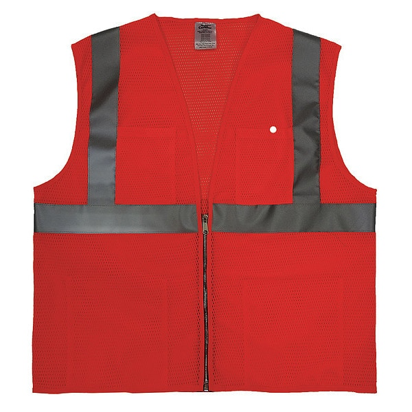 Condor 5XL Class 2 Cool Dry High Visibility Vest,  Orange 4GJN9