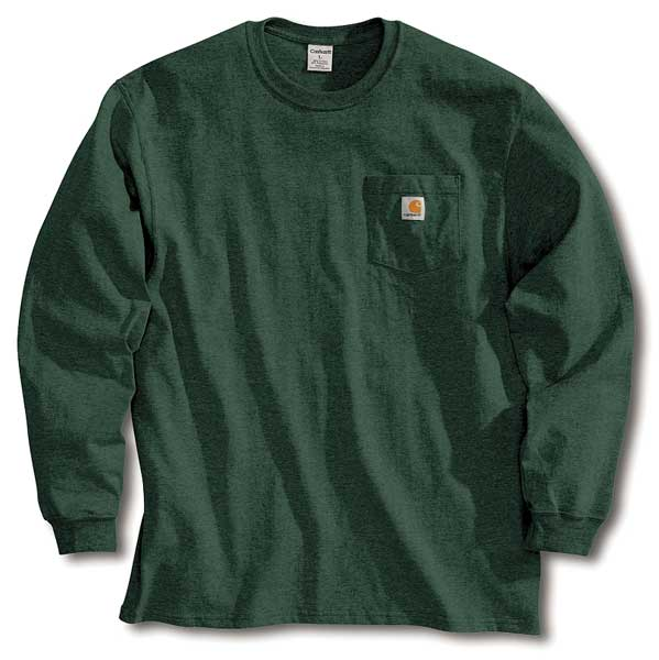 Carhartt Long Sleeve T-Shirt, Hunter Green, XL K126-HTG XLG REG