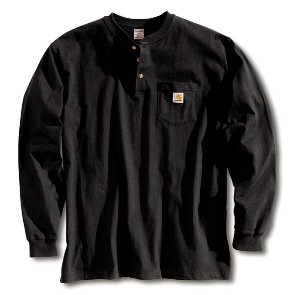 Carhartt Long Sleeve Henley, Black, 3XL K128-BLK 3XL REG