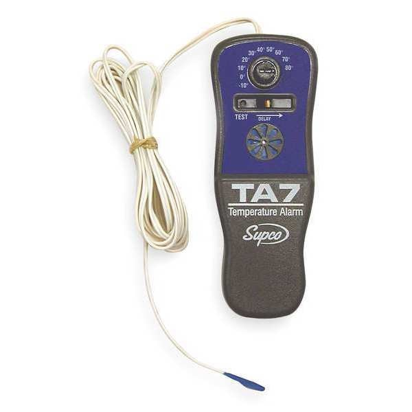 Supco Temp. Alarm, -10 to 80F, Battery Operated TA-7