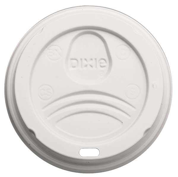 Dixie Lid for 12 to 20 oz. Hot Cup,  Dome,  Sip Through,  White,  Pk500 9542500DX