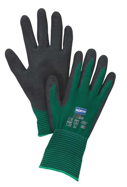 Honeywell Nitrile Coated Gloves,  Palm Coverage,  Black/Green,  L,  PR NF35/9L