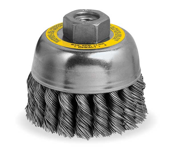 "Dewalt Knotted Cup Brush, Arbor, 3"", 0.02"" DW4915"