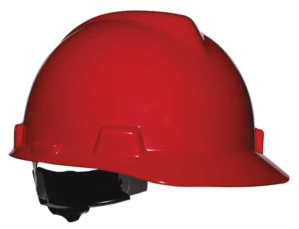 Msa Front Brim Hard Hat,  Type 1,  Class E,  Ratchet (4-Point),  Red 475363