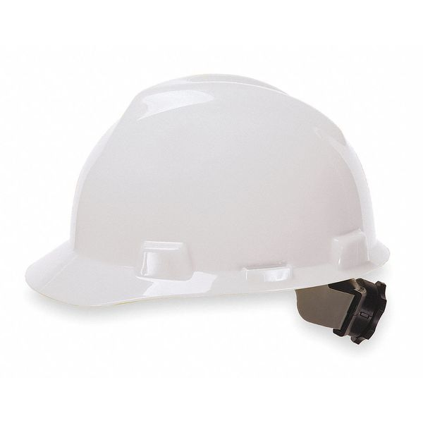 Msa Front Brim Hard Hat,  Type 1,  Class E,  Ratchet (4-Point),  White 475358
