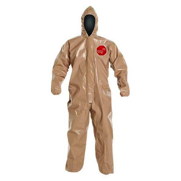 Dupont Hooded Chemical Resistant Coveralls ,  L ,  Tan ,  Tychem(R) 5000 ,  C3127TTNLG000600