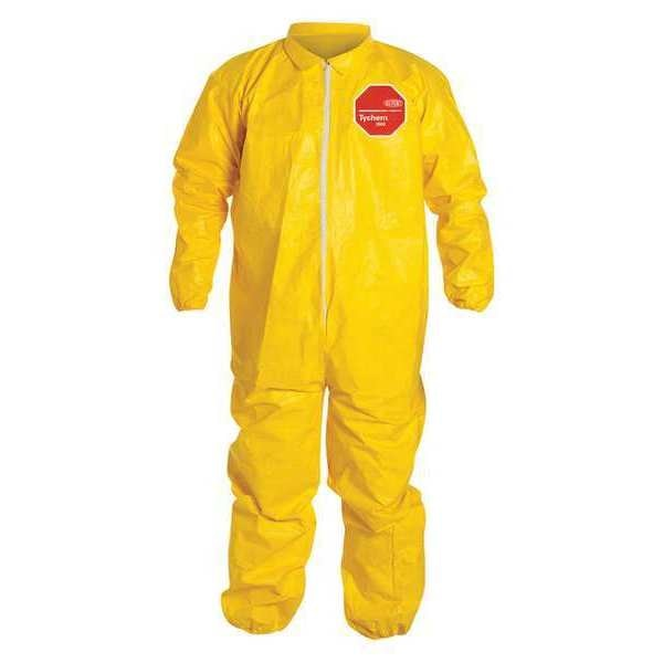 Dupont Collared Chemical Resistant Coveralls ,  4Xl ,  Yellow ,  QC125SYL4X001200