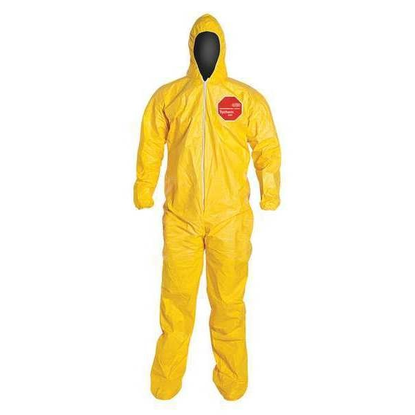 Dupont Hooded Chemical Resistant Coveralls ,  M ,  Yellow ,  Tychem(R) 2000 ,  QC122SYLMD001200
