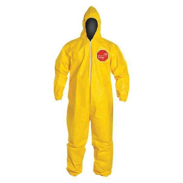 Dupont Hooded Chemical Resistant Coveralls ,  4Xl ,  Yellow ,  Tychem(R) 2000 ,  QC127SYL4X001200