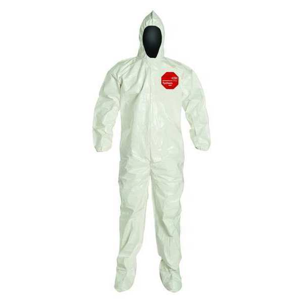 Dupont Hooded Coverall w/Socks, White, 6XL, PK12 SL122BWH6X001200