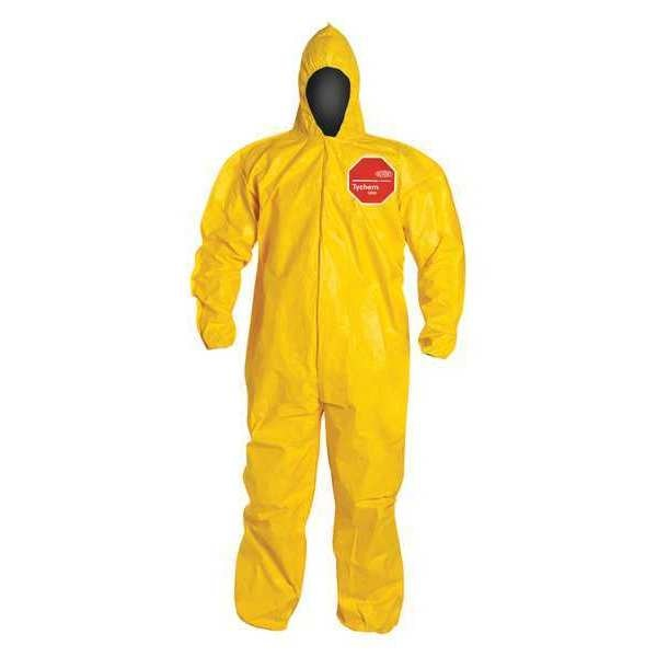 Dupont Hooded Chemical Resistant Coveralls ,  2XL ,  Yellow ,  Tychem(R) 2000 ,  QC127BYL2X001200