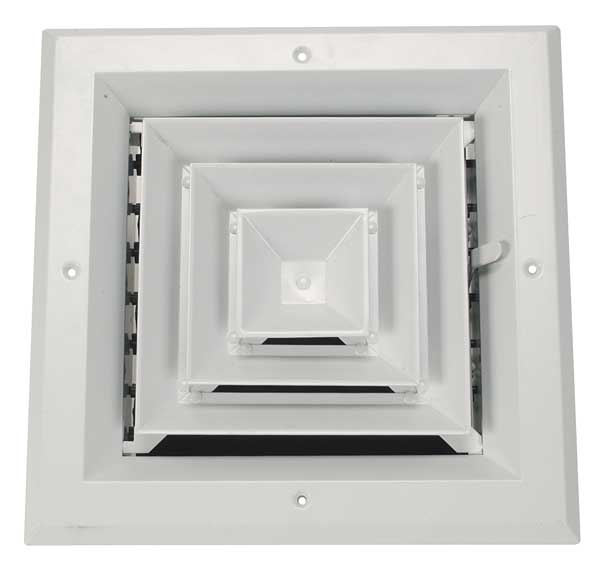 Zoro Select 6 in Square 4-Way Multilouver Ceiling Diffuser,  White 4MJJ5