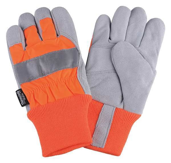 Condor Leather Palm Gloves, Hi-Vis Orange, S, PR 4NHF4