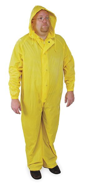 Condor Coverall Rainsuit w/Hood, Yellow, 3XL 4PCF5