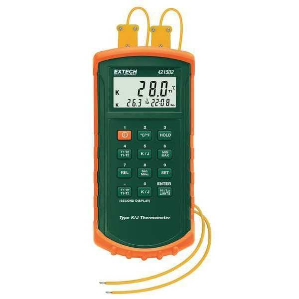 Extech Thermocouple Thermometer, 2 In, Type J,  K 421502