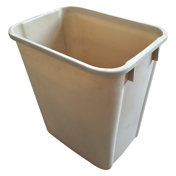 Tough Guy 10 gal. Plastic Rectangular Trash Can ,  Beige 4PGN9