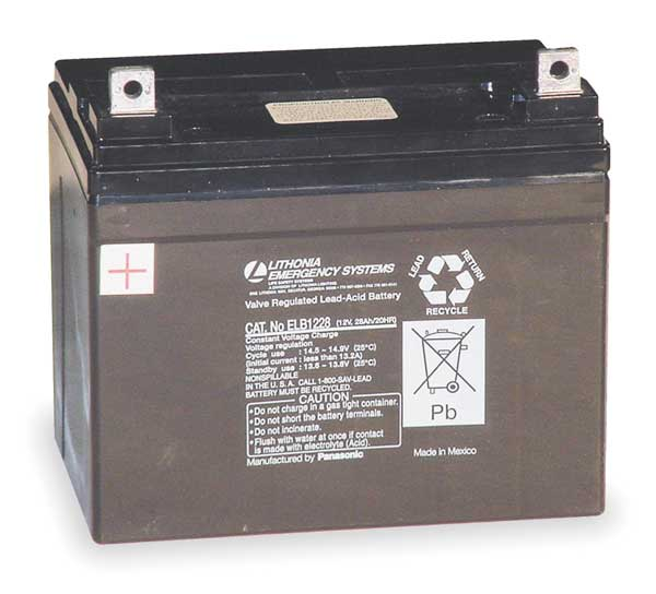 Acuity Lithonia Battery, Lead Calcium, 12V, 28A/HR. ELB 1228