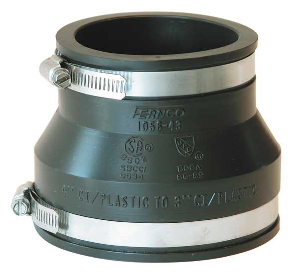 """Fernco Flexible Coupling, For Pipe Size 4"""" x 3"""" 1056-43"""