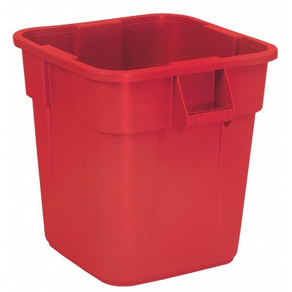 Rubbermaid 28 gal. LLDPE Square Trash Can ,  Red FG352600RED