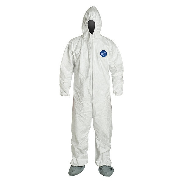 Dupont Hooded Chemical Resistant Coveralls ,  2XL ,  White ,  Tyvek(R) 400 ,  TY122SWH2X0025NF