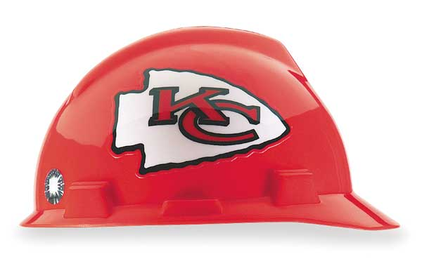 Msa Front Brim NFL Hard Hat,  Type 1,  Class E,  One-Touch (4-Point),  Red 818398