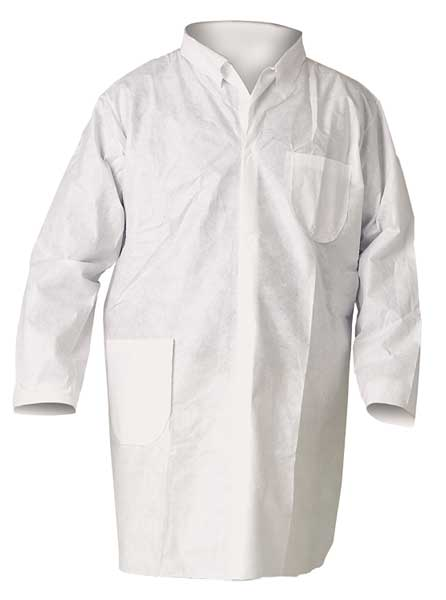 Kimberly-Clark Breath Parti Protect Lab Coat 4Snap KneeLeng WHT 2X 25/Cs 40049