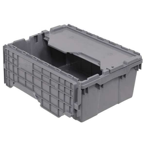 Akro-Mils Attached Lid Container,  1.12 cu. ft.,  Gray 39-0854W023