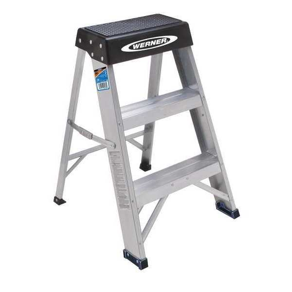 Werner 2 Steps,  Aluminum Step Stool,  300 lb. Load Capacity,  Silver/Black 150B