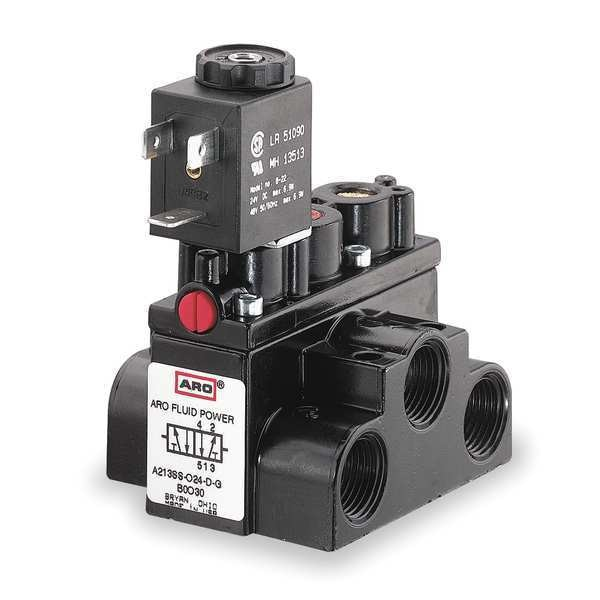 Aro Solenoid Air Control Valve, 3/8 In, 24VDC A213SS-024-D