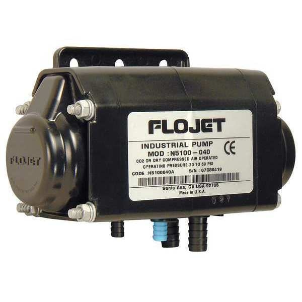Flojet Double Diaphragm Pump,  Acetal,  Air Operated,  Viton,  2.5 GPM N5100020G
