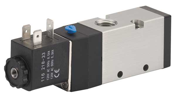 Aro Solenoid Air Control Valve,  1/4 In,  120VAC,  Overall Length: 4 1/2 in M252SS-120-A