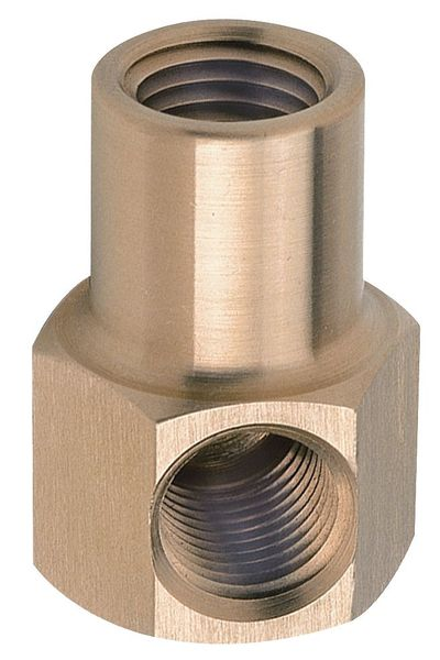 """Zoro Select 1/4"""" x 3/8"""" FNPT Chrome Plated Brass Hex Elbow 4CCG3"""