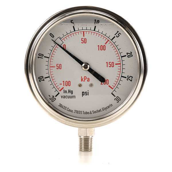 Zoro Select Compound Gauge, Liquid Filled, 3-1/2 In 4CFJ6