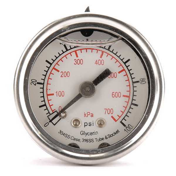 Zoro Select Pressure Gauge, Liquid Filled, 1-1/2 In 4CFL5