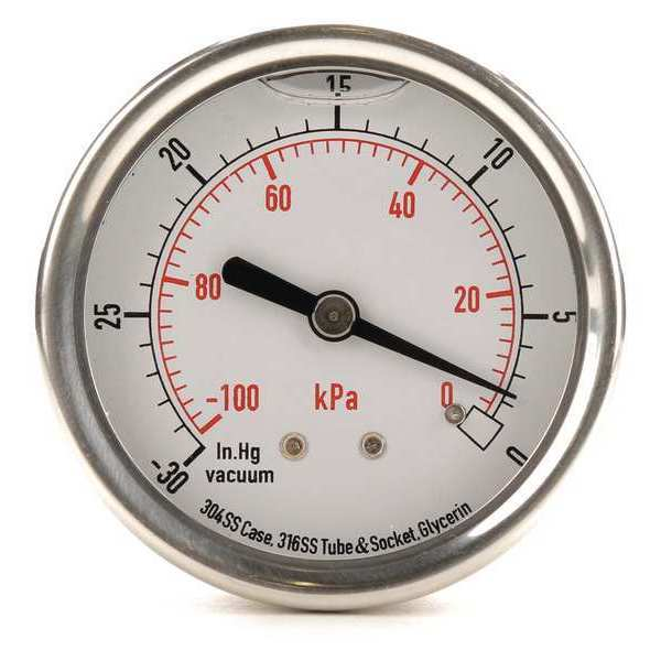 Zoro Select Vacuum Gauge, Liquid Filled, 2-1/2 In 4CFR2