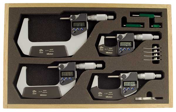 Mitutoyo Micrometer Set, 0-4In, 0.00005In, 4Pc 293-961-30